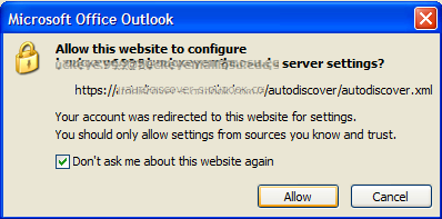 Suppress Autodiscover window in Outlook 2007 - ITExperience NET