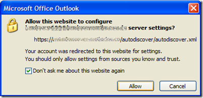 image thumb3 Suppress Autodiscover window in Outlook 2007