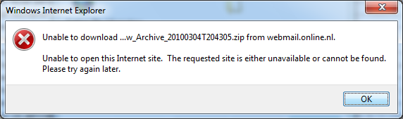 Unable to open this Internet site when you try to download