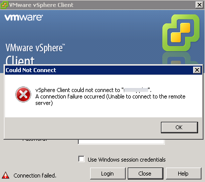 vSphere Virtual Center service starts and then stops again