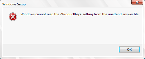 image Windows 8: Windows cannot read the setting from the unattend answer file.