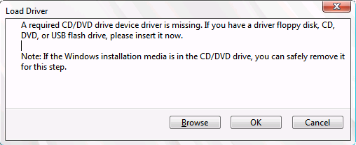 A required CD/DVD drive device driver is missing