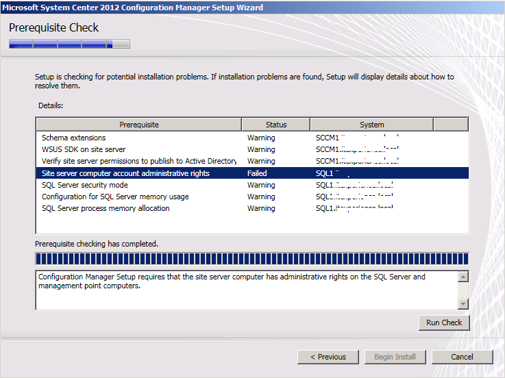 Configuration Manager Setup requires that the site server