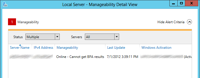 "bpa 1 Error ""Online   Cannot get BPA results"" in Windows 2012 server"