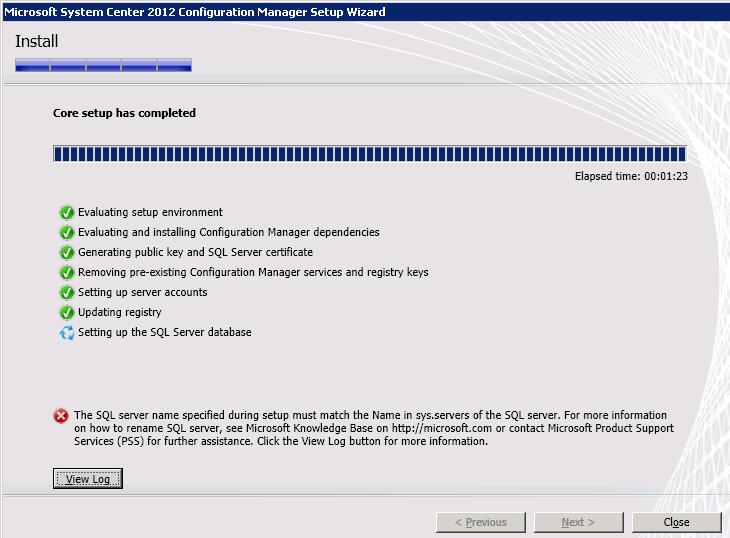 SCCM setup SQL error printscreen