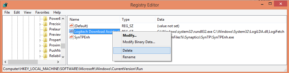 delete registry key for logilda.dll