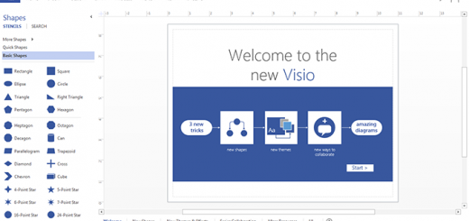 Microsoft Visio 2013 intro screen