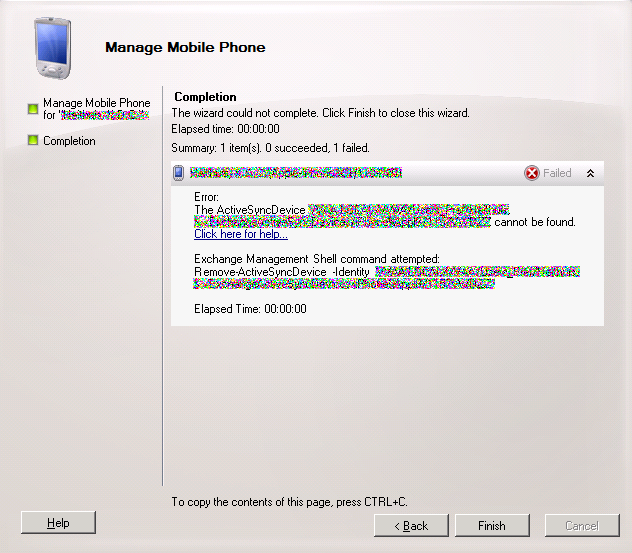 Exchange 2010 error remove mobile phone