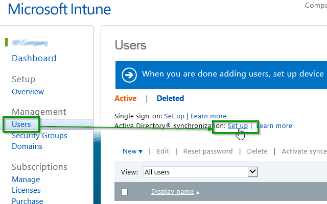 Set Up AD Sync Intune