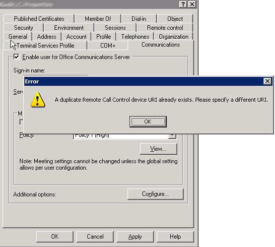 A duplicate remote call control device URI already exists