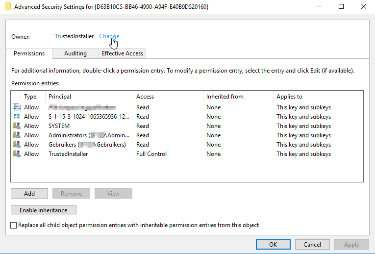the application-specific permission settings do not grant local activation permission