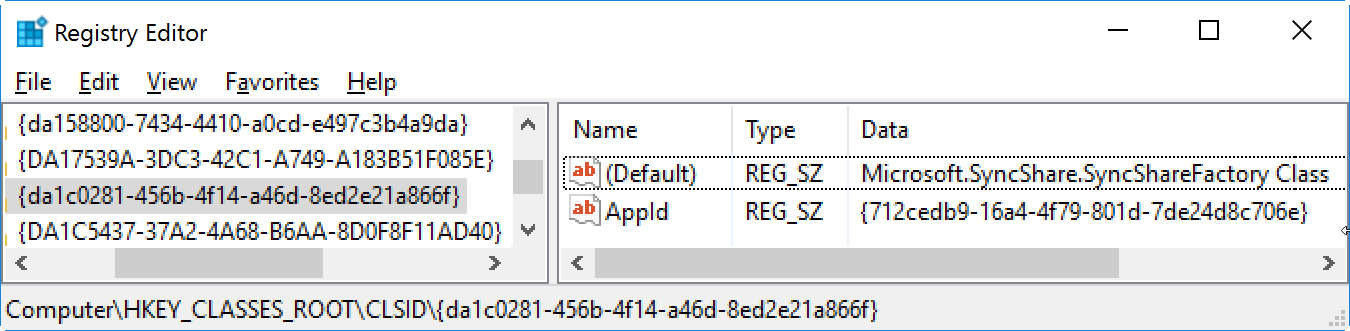 The server {DA1C0281-456B-4F14-A46D-8ED2E21A866F} did not