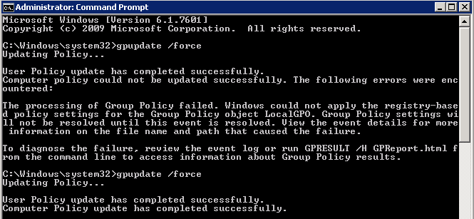 event 1096 group policy failed