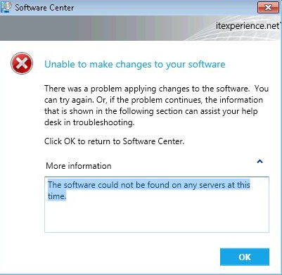 SCCM 2012 - The software could not be found on any servers at this time
