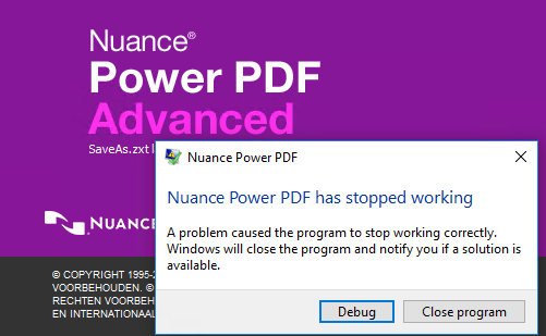 Nuance PowerPDF crashes at SaveAs.zxt