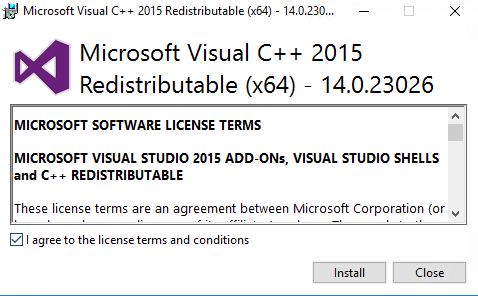 Install Visual Studio C++ 2015 Runtime
