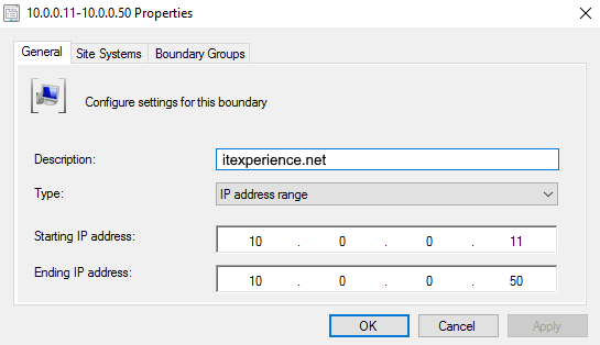SCCM Boundary IP Range