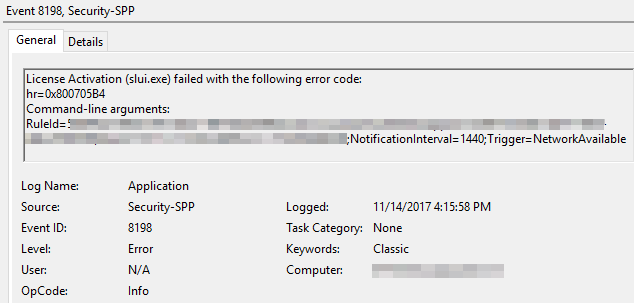 Fix for Event 8198 - License Activation (slui exe) failed with the