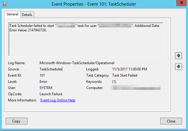Scheduled Task fails with error value 2147943726 (event 101