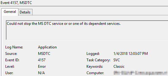 MSDTC uninstall fails with event 4157 (Could not stop the MS DTC service or or one of its dependent services) 1