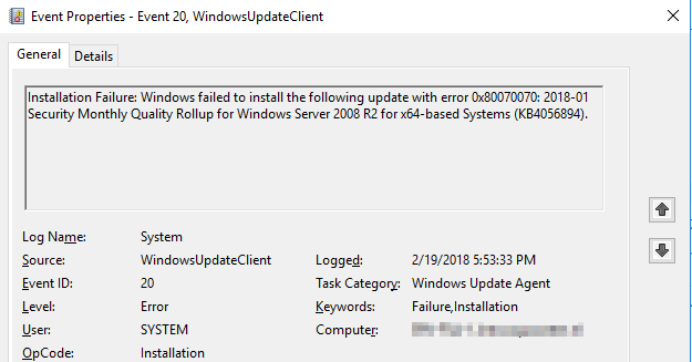 0x80070070 Installation Failure: Windows failed to install the