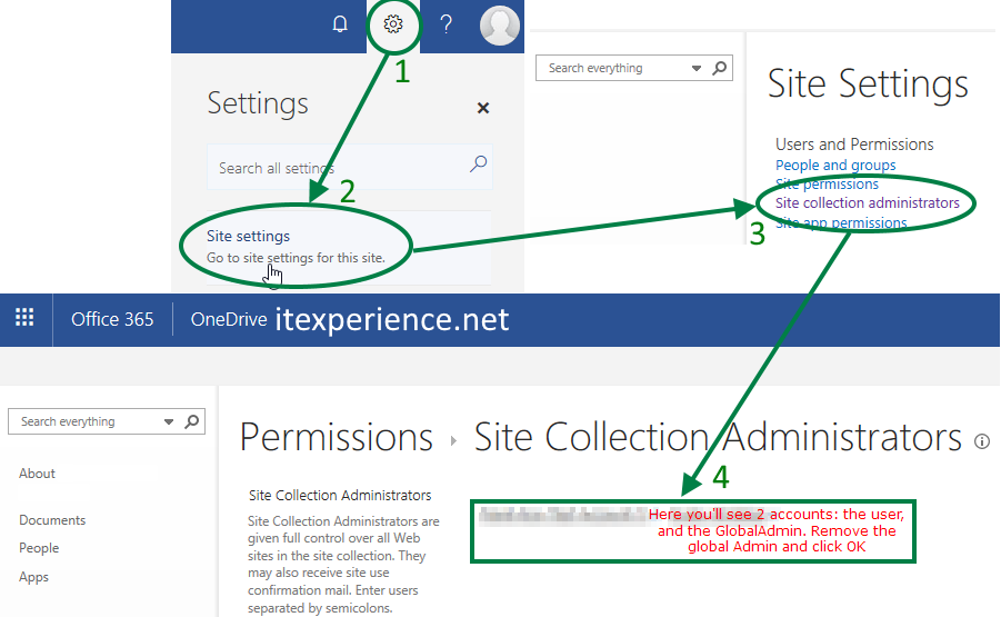 Remove Site Collection Administrators after Onedrive Access Files Azure Office365
