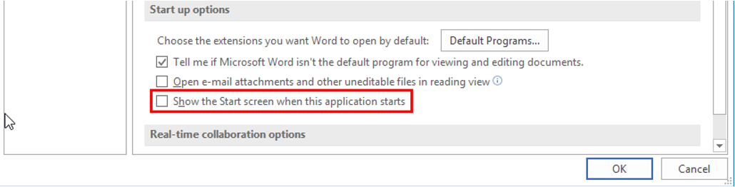 Word 2016 show the start screen when this application starts