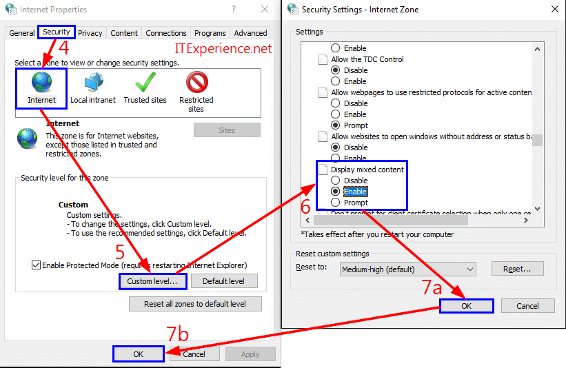 enable mixed content in internet options