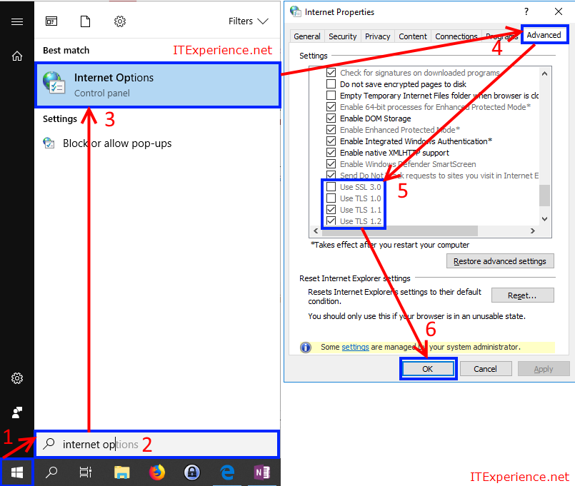 enable tls 1.0 and tls 1.1 in Microsoft Edge browser