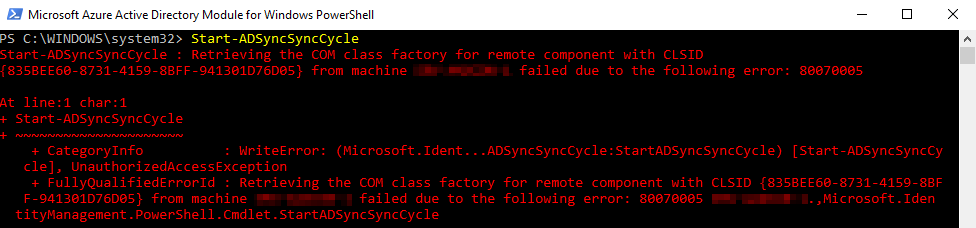 Fix: Start-ADSyncSyncCycle : Retrieving the COM class