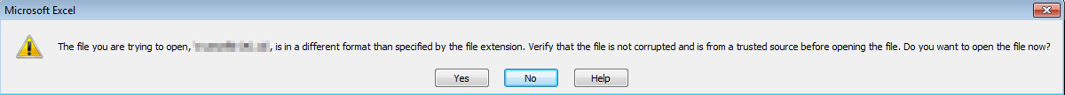 The file you are trying to open .xlsx is in a different format than specified by the file extension