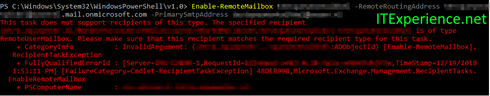FIX: This task does not support recipients of this type. The specified recipient is of type RemoteUserMailbox 2