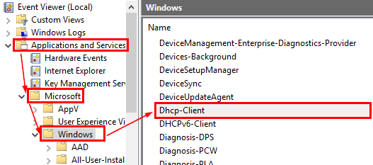 dhcp-client events in windows event viewer