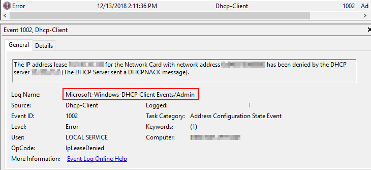 event id 1002 log name dhcp clients events admin