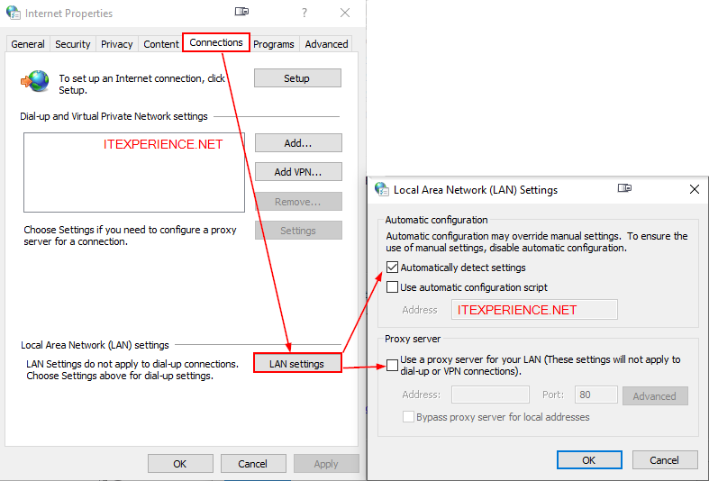 internet options check proxy settings