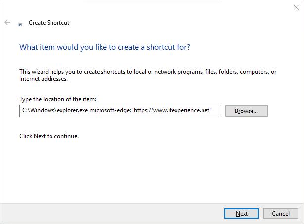 shortcut open URL in Edge