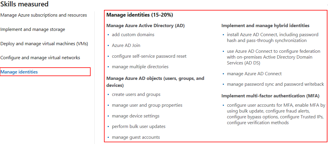 Azure Administrator AZ-103 skills measured manage identities