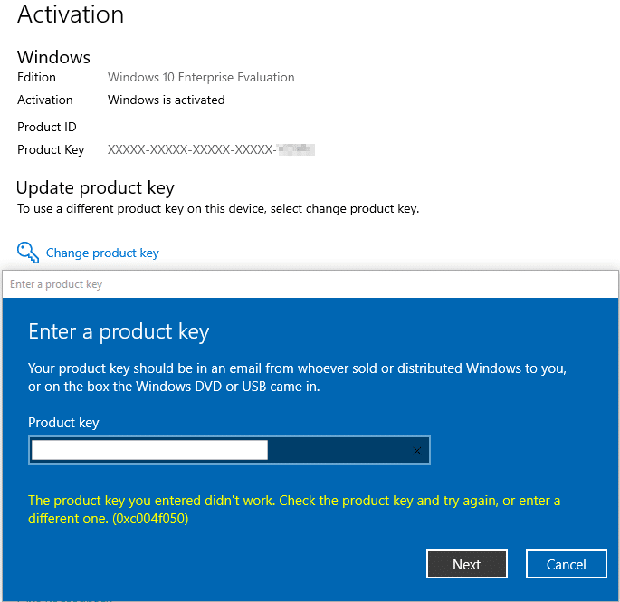 0xc004f050 The product key you entered didn't work from