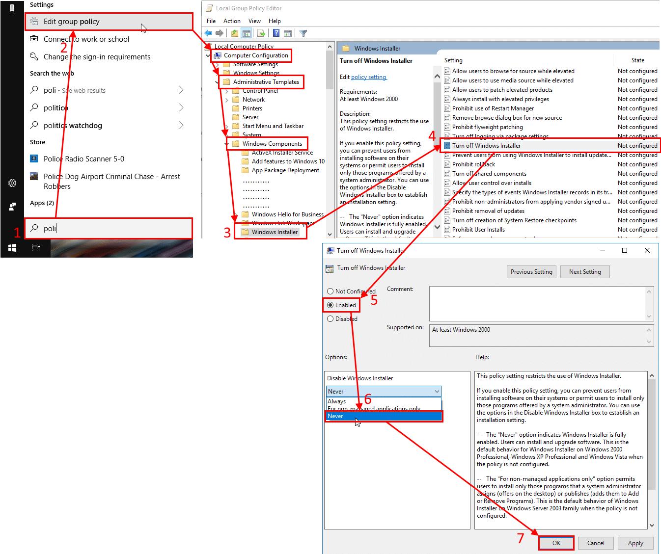 policy Always allow Windows Installer