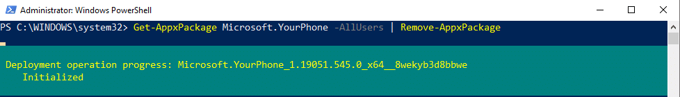 uninstall yourphone app with powershell