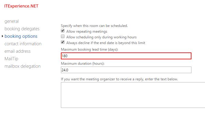 Adjust booking window in days