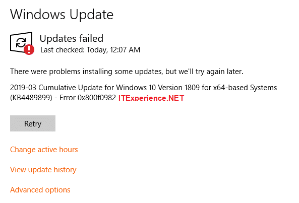 Error 0x800f0982 windows update
