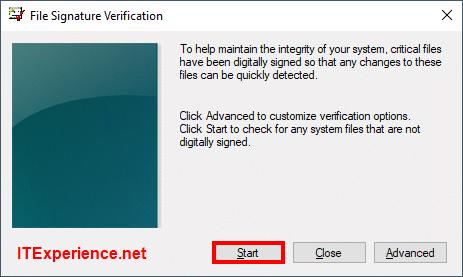 sigverif start file signature verification