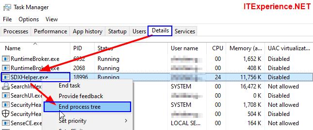 stop sdxhelper.exe Office SDX helper