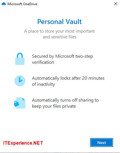 wizard onedrive personal vault
