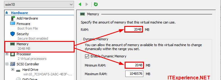 hyperv settings lower memory allocation