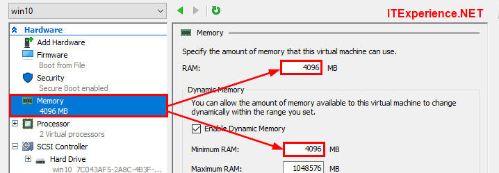 hyperv settings memory allocation