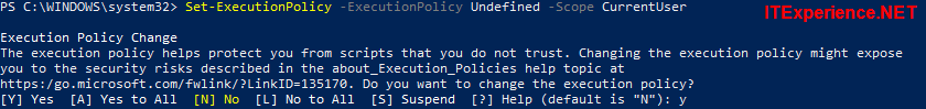 powershell set executionpolicy undefined currentuser