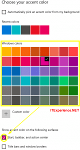 choose accent color in windows 10 and Change taskbar color
