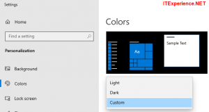 set colors to custom in Windows 10 taskbar